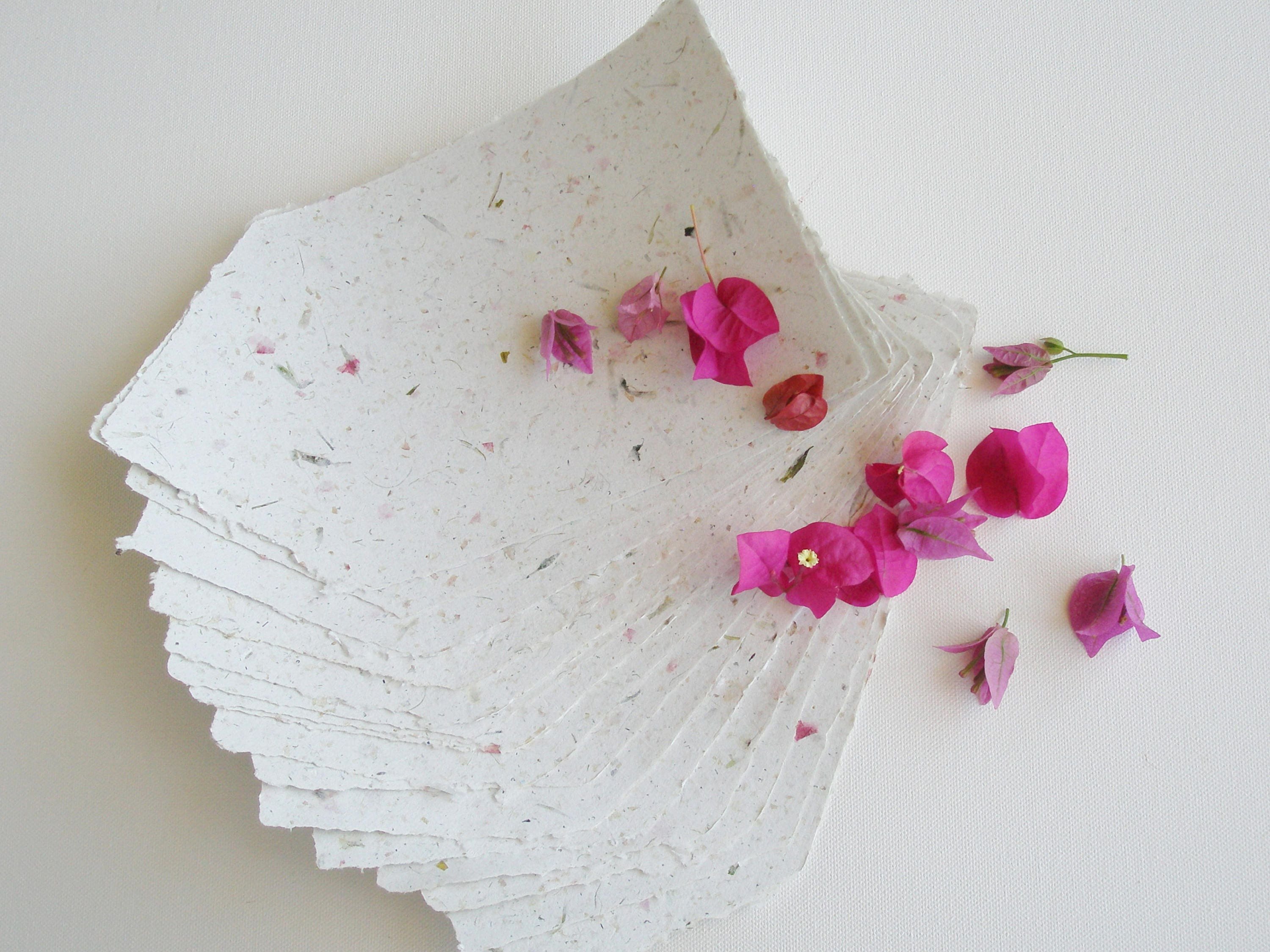 Writing Paper With Bougainvillea 6 Handmade Recycled Papers Floral