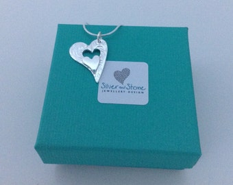 Silver Heart Necklace   Mother & Child   Sterling Silver   Gift for Mom   Christening Gift   Dainty Silver Jewellery