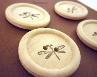 Wooden Buttons - Stamped Dragonfly Collection - 30mm