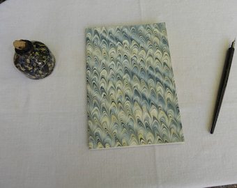 Blue and cream marbled paper hand sewn notebook, lined paper