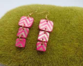 Earrings 3 square GOLD neon pink and gold Fimo