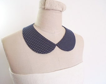 PeterPan Collar, Navy blue with Tiny White Polka Dot Cotton Collar, detachable collar