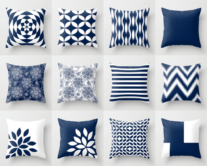 Blue Throw Pillows Blue Pillows Navy Blue Decorative Pillow