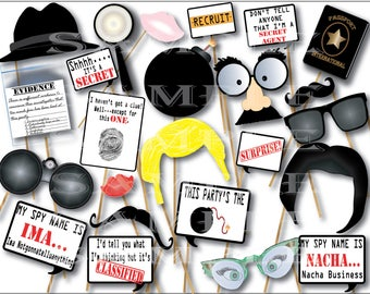 Secret Agent Photo Booth Props Printable Spy Party Fedora Disguises Binoculars Captions Passport Evidence Bag Mustache Magnifying Glass Bomb