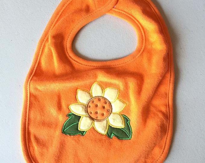 Sunflower Bib, Flower Baby Bib, Fall Baby Bib, Orenge sunflower Bib, Kids Bib, Appliquéd Bib, Ready to Ship.
