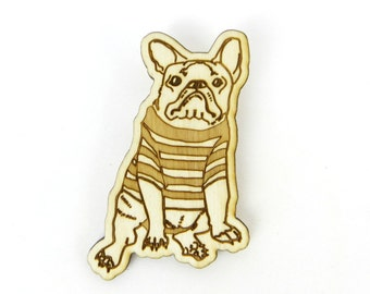 Frenchie Brooch, French Bulldog pin brooch made of birch wood, lasercut dog brooch, french bulldog badge, handmade jewelry pinback brooch