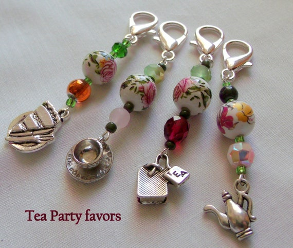 Tea Party Zipper pull - garden party  - English tea time - pink garden favors - Tea cup charms - set of 5 - Tea party favors - Birthday