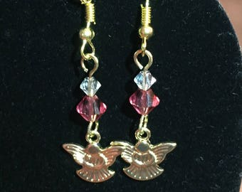 Gold Angel Earrings with Swarovski Crystal Accent (Pink)
