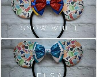 Disney princess inspired mouse ears,cinderella,mulan,merida,Jasmine, Elsa, Anna, aurora, snow white, belle,tiana, ariel,interchangeable bows