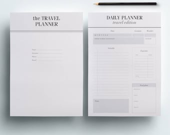 Travel Planner Printable x 29 Pages | Vacation Planner, Trip planner, Packing List, Travel Itinerary, A5 Planner Inserts, A4, US Letter