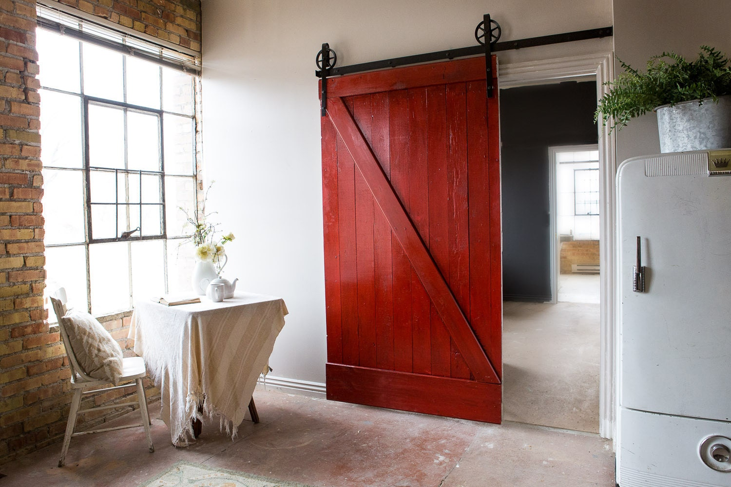 🔎zoom - Vintage Industrial Spoked European Sliding Barn Door Closet