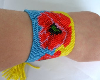 Beaded bracelet Ukrainian style Yellow blue Bracelet Ukrainian Poppies Made in Ukraine Beautiful gift Exclusive decoration Ethnic jewelry