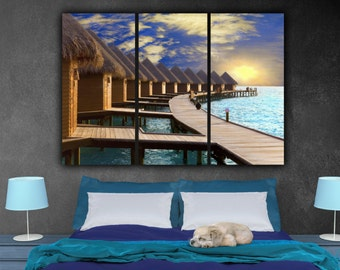 Maldives Sunset on Ocean Canvas Set, Large Wall art, Maldives Canvas, Maldives Art, Maldives Photo, Maldives Poster, Tropical art, Beach