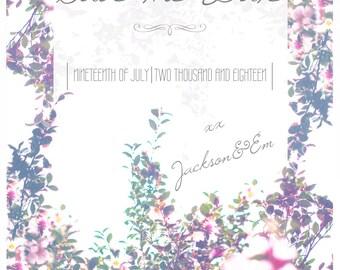 Wedding Save the Date Template Blossom Custom Printable Digital Download DIY