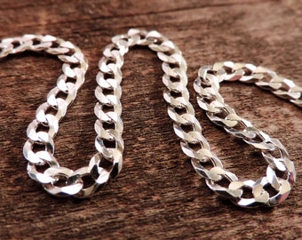 Finished Handmade Curb Chain | 4.2mm Flat Curb Chain | Sterling Silver & Lobster Clasp, Bracelet, Anklet, Necklace, Custom, Made to Order