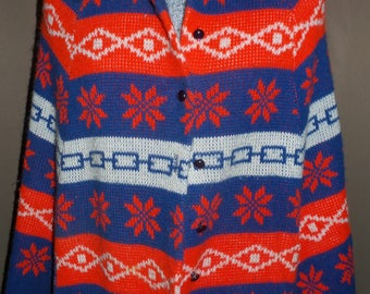 Vintage Red, White, and Blue Geometric Button Down poncho