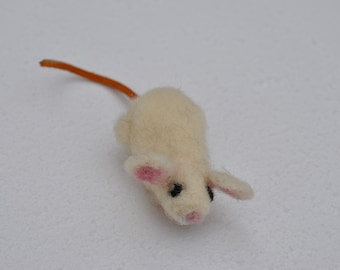 White needle felted mouse