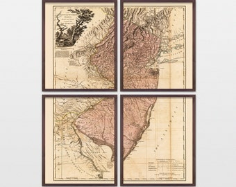 New Jersey Map - Antique Map - Archival Reproduction - New Jersey Art - New Jersey Poster - New Jersey Wall Art - State Map - Old Map