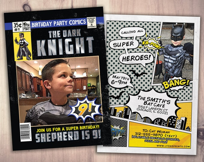 Comic birthday invitation / Avengers / super hero invitation / comic invitation / comic book, vintage comic, hero invite,
