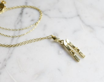 Golden Skis Charm Necklace | Gift for Skiers