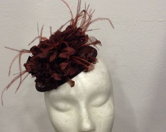 Fascinator wedding Brown squirrel and feathers