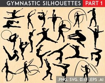 Gymnastics SVG, Gymnast SVG, Gymnastics Silhouette, Gymnast Vector Cut Files svg dxf eps png Silhouette Cricut Transfer, Cutting Machine