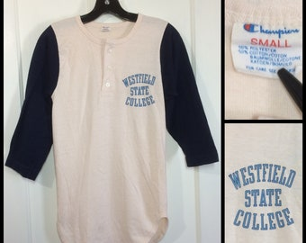 1980s Westfield State College Champion tag baseball style henley neck t-shirt size small looks XS 14.75x27 off white blue 3/4 length sleeves