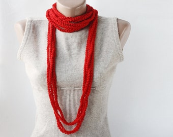 Red scarf - crochet loop scarf - skinny infinity scarf with soft vegan yarn - fiber chain necklace