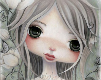 Winter Art Print, Girls Room, Snowdrops, Big Eyes, Butterflies, Portrait, Whimsical, Green Eyes, Snow, Girls Wall Art, Solstice, Flowers