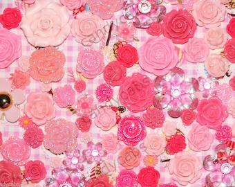 CandyCabsUK Mixed Resin Flowers & Gems PINK Mix Flatback Cabochon BULK DIY