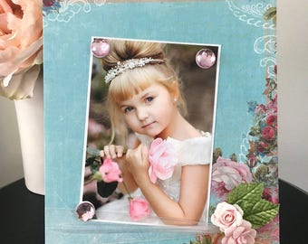 """Vintage Roses Little Girl Mothers Day Grandma Family Girl Room Decor floral Lace magnetic picture frame holds 5"""" x 7"""" photo 9"""" x 11"""" size"""