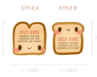 Cutie Toastie Toast Breakfast Diecut Custom Return Mailing Address Labels Stickers