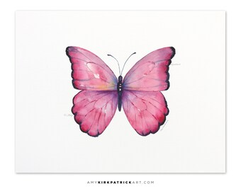 Pink Butterfly Painting, Butterfly Print, Original Pink Butterfly Watercolor, Butterfly Greeting Cards, 105 Pink Celestina Butterfly