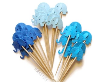 Mixed Blue Elephant Cupcake Toppers, Food Picks-Set of 12pcs, 24 pcs