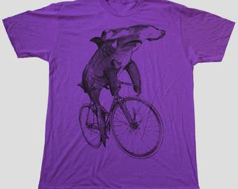 Hammerhead on a Bicycle- Mens T Shirt, Unisex Tee, Cotton Tee, Handmade graphic tee, Bicycle shirt, Bike Tee, sizes xs-xxl