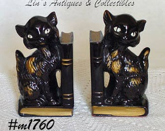 Vintage Pair of Black Cats Bookends,Black Cats Bookends,Japan Black Cats Bookends,Japan Black Cats Red Clay Bookends  (Inventory #M1760)