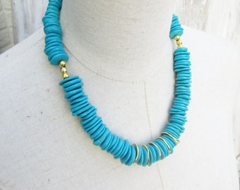 Chunky Turquoise and Gold Disk Beads Boho Necklace