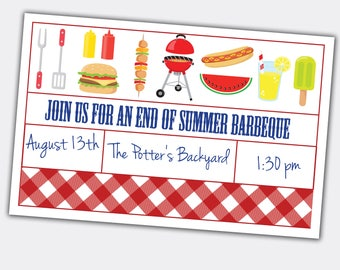 End of Summer BBQ, Barbeque Invite, Custom Printable,