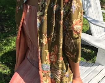1950er Jahre cocktail-Jacke / Kimono robe Jacke / floral Jacke / s / m /