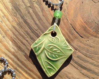 Light green leaf textured ceramic pendant necklace with ball chain, stoneware pendant necklace