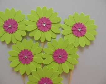 Flower Cupcake Toppers - Lime Green and Bright Pink Daisies - Girl Birthday Parties - Bridal Showers - Weddings - Girl Baby Showers