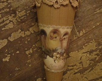 Easter Gladness Chicks in Egg Vintage Lace  Candy Cone Tussie Mussie Large