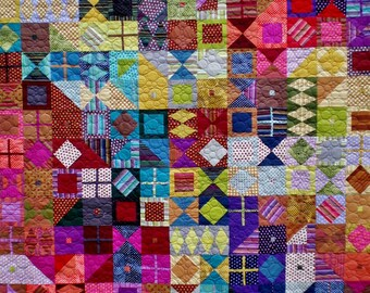 Colorful Full size Quilt Featuring Striped/Polka Dotted/Solid Fabrics