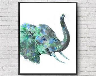 Blue watercolor painting elephant print. Nursery animal art. Blue wall art print - 2