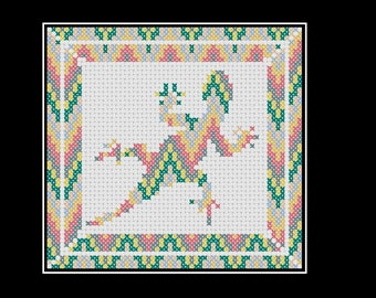 Cross stitch pattern: lizard with chevron design