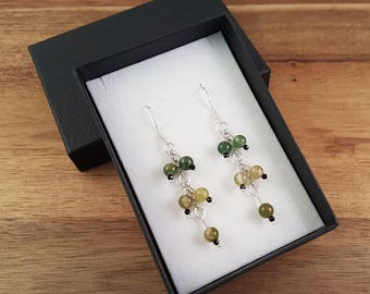 Fancy jasper black spinel and sterling silver earrings in greens and yellows
