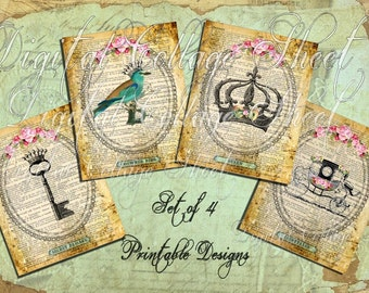 WHiMSiCaL CRoWNeD BiRD Antique KeY FaiRyTaLe CaRRiaGe Queen CRoWN DIGITAL COLLAGE SHEET altered art scrapbooking handmade greeting card iron on printable fabric transfers tea towels tote bags paper craft supplies SeT2
