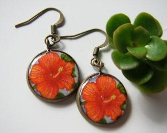 Orange Hibiscus Flower; Earrings