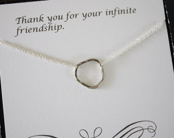 Karma Silver, Infinite necklace, Infinity Jewelry, Best friend Gift, Sterling Silver Necklace, Karma, Textured Circles, Organic Circle