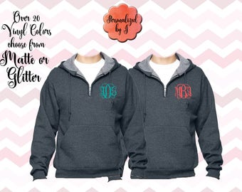 Monogrammed Quarter Zip Hooded Pullover, Monogrammed Big Little Shirt, Sorority Shirt, Hoodie, Personalized Sweatshirt, Monogram Sweatshirt